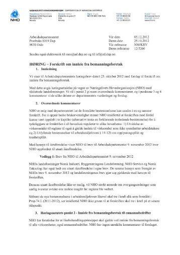 NHOs høringssvar til forskrift om innleie fra bemanningsforetak