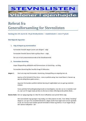 Referat fra Generalforsamling for Stevnslisten
