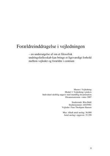 Forældreinddragelse i vejledningen - Videncenter for uddannelses ...