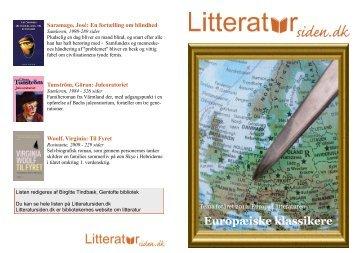 Nyere europæiske klassikere / PDF-liste - Litteratursiden