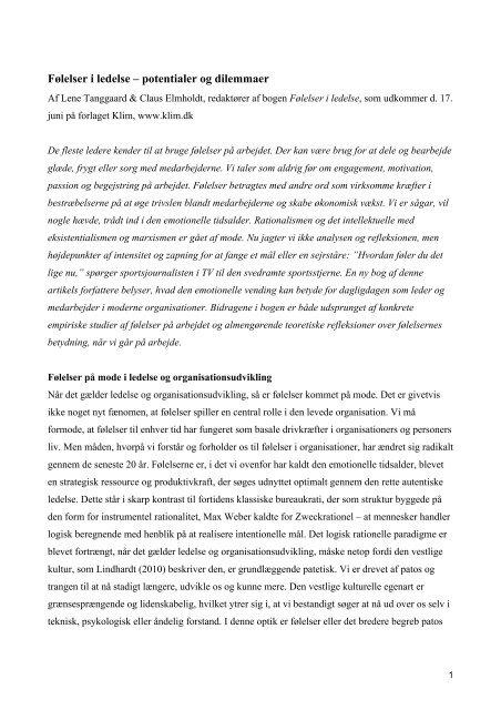 Følelser i ledelse - potentialer oog dilemmaer - Forlaget Klim