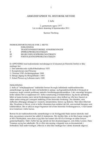 arbejdspapirer til historisk metode - Thorborg - Liisberg Hjemmeside