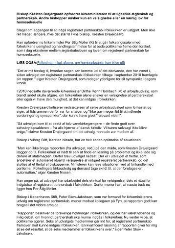 Biskop Kresten Drejergaard opfordrer kirkeministeren til at ligestille ...