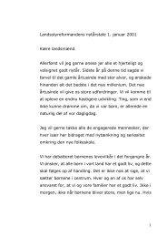 Landsstyreformandens nytårstale 1. januar 2001 Kære landsmænd ...