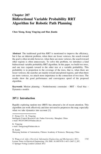 Bidirectional Variable Probability RRT Algorithm for Robotic
