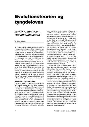 Evolutionsteorien og tyngdeloven - Skabelse.dk