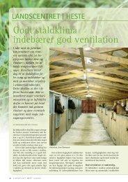 Godt staldklima indebærer god ventilation - Hestemagasinet.dk