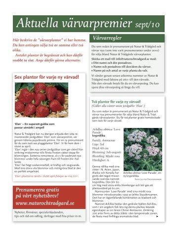 Aktuella värvarpremier sept/10 - Natur & Trädgård
