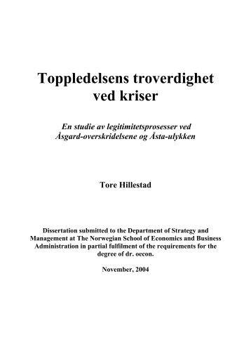 Toppledelsens troverdighet ved kriser - BI Norwegian Business School