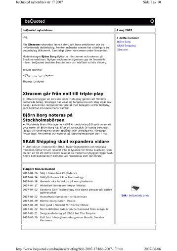 Xtracom går från noll till triple-play Björn Borg noteras på ...