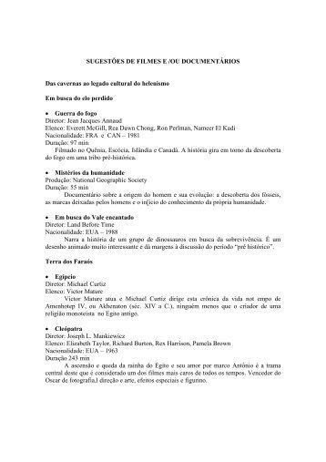 SUGESTÕES DE FILMES E /OU DOCUMENTÁRIOS Das cavernas ...