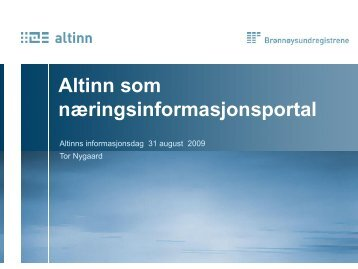 Altinn som næringsinformasjonskanal - Brønnøysundregistrene