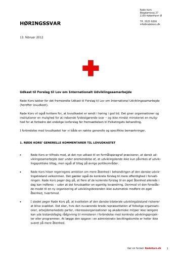 Ændring af Lov om Danmarks Internationale ... - Røde Kors