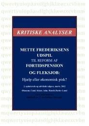 Mette Frederiksens udspil til reform af førtidspension og fleksjob