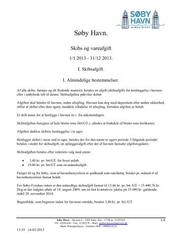Regulativ skibs- og vareafgift - Søby Havn