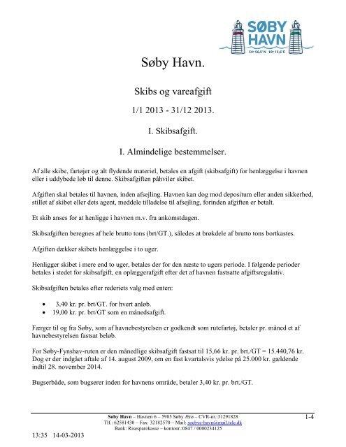 Regulativ skibs- og vareafgift - Søby Havn