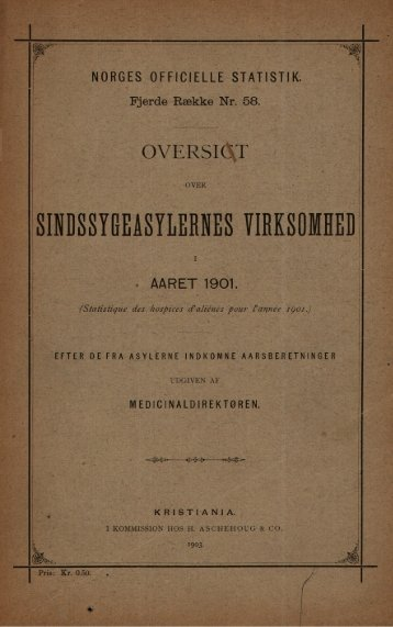 Sindssygeasylernes virksomhet i aaret 1901.