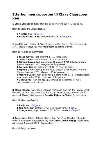 Etterkommerrapporten til Claas Claaszoon Kan - Fam Kan