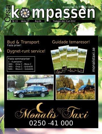 Guidade temaresor! Bud & Transport Dygnet-runt ... - Orsakompassen