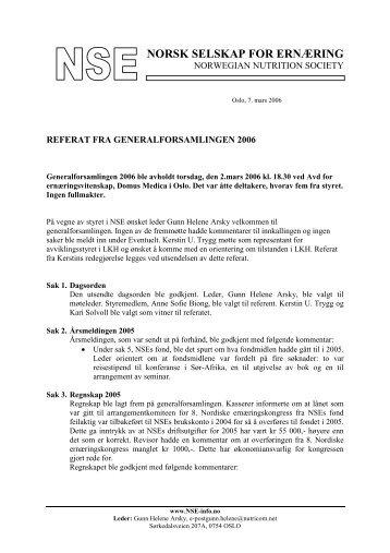 Referat fra generalforsamlingen 2006 - NSE – Norsk selskap for ...