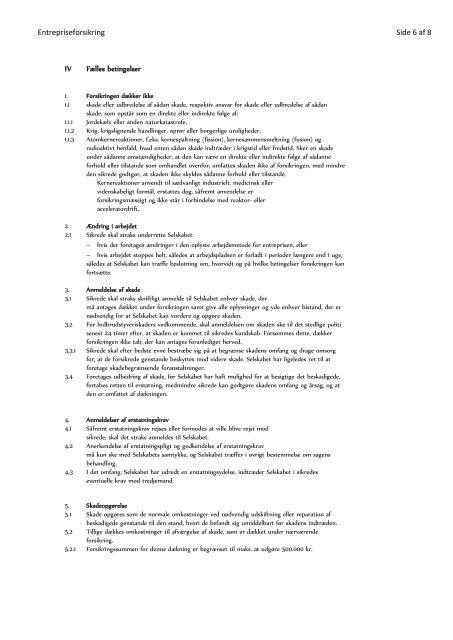 Entrepriseforsikring Side 1 af 8 - Thisted Forsikring g/s
