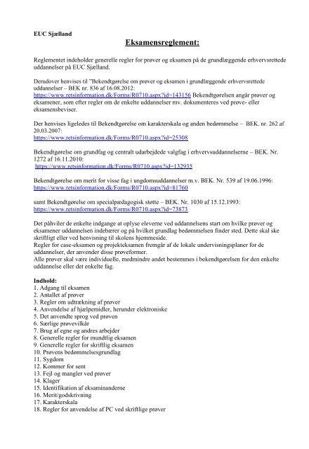 Eksamensreglement: - EUC Sjælland