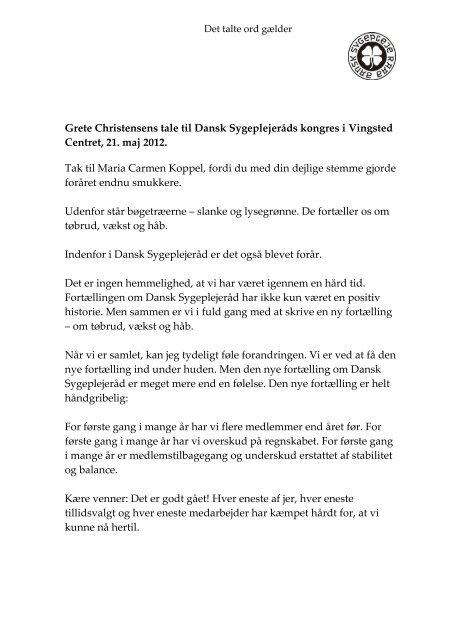 Endelig kongrestale Grete Christensen 21 maj 2012 - Dansk ...