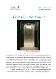 Échos du Récolement - Archives nationales