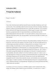 Les hele Kulturbrevet fra 2001 her
