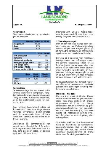 SvineRådgivning SvineInfo Uge: 31 6. august 2010 ... - LandboNord