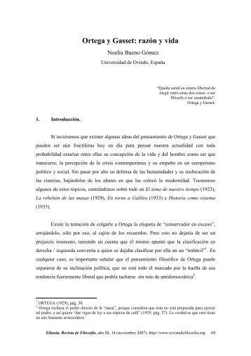 Ortega y Gasset: razón y vida - Eikasia Revista de Filosofía