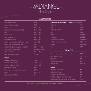 to download our beauty and aesthetics pricelist - Radiance MediSpa