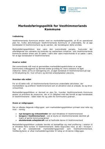 Vesthimmerlands Kommunes Markedsføringspolitik