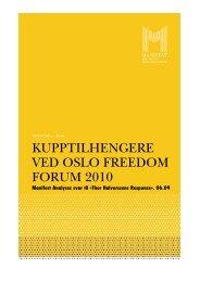 kupptilhengere ved oslo freedom forum 2010 - Manifest Analyse