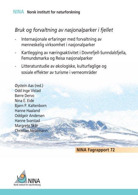NINA Bruk og forvaltning av nasjonalparker i fjellet