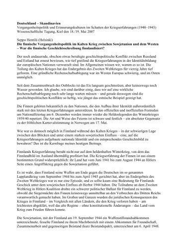 Deutschland – Skandinavien Vergangenheitspolitik und ...