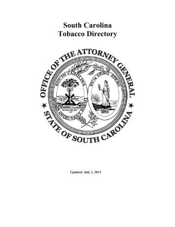 South Carolina Tobacco Directory – By Brand