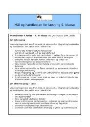Mål og handleplan for læsning 9. klasse - Sct. Nicolai Skole