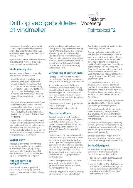 Drift og vedligeholdelse af vindmøller - Danmarks Vindmølleforening
