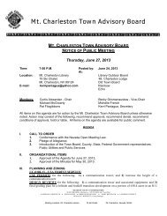 Mt. Charleston Town Advisory Board - Clark County Nevada