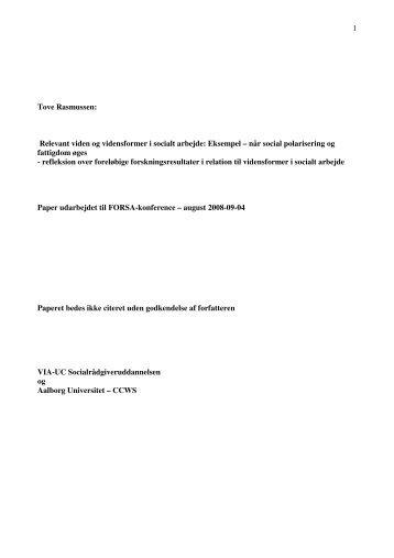 Relevant viden og vidensformer i socialt arbejde - Institut for ...