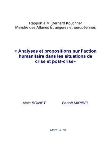 Analyses et propositions sur l'action humanitaire dans les… - Evenium