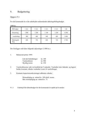 9. Budgettering - Serviceoekonomi - Økonomi for service og ...