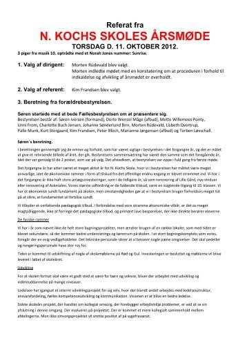 Årsmøde referat 2012 - N. Kochs Skole