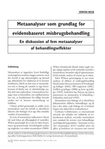 Metaanalyser som grundlag for evidensbaseret misbrugsbehandling