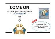Forløbs- og konceptbeskrivelse af COME ON online genplacering