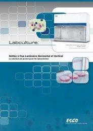 Hottes à Flux Laminaire Horizontal et Vertical - Esco Labculture