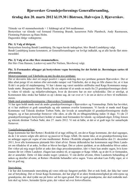 Referat for Generalforsamlingen 2012 - Bjæverskov ...