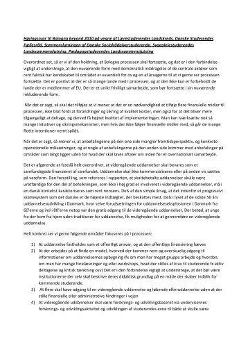 Høringssvar til Bologna beyond 2010 på vegne af Lærestuderendes ...