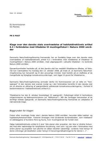 Klage over den danske stats overtrædelse af habitatdirektivets ...